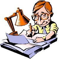 Cartoon of writer at desk